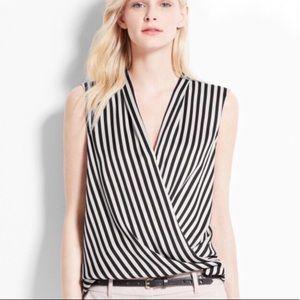 Ann Taylor Black Cream Striped Sleeveless Wrap Top